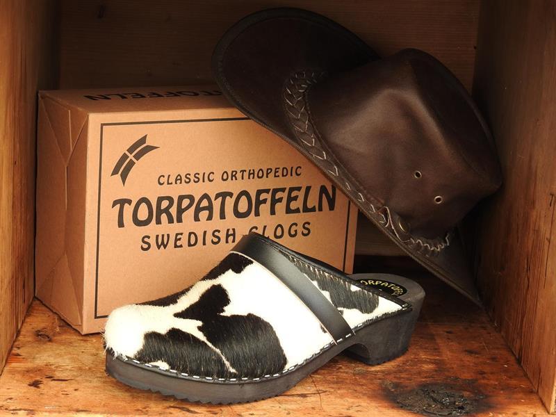 Torpatoffeln kotofflor (svart/vita) 36