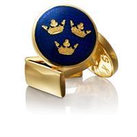 Manschettknappar, Three crowns blå/guld