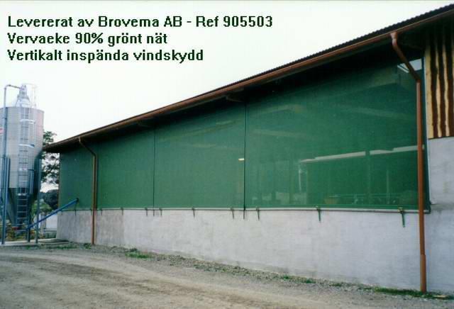 Från utsida Vervaeke vertikalt inspända vindskydd nät 90% vindred.