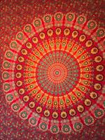 Mandala Peacock Dubbel Röd