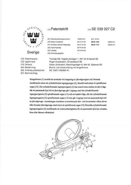 Nytt svenskt patent beviljat