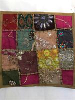 Kuddfodral indiska mönster guldgrön