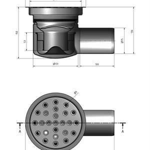 Golvbrunn 150 S 75 betong i rostfritt stål
