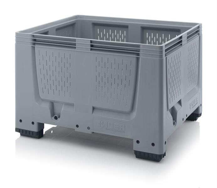 Pallecontainer 1200x1000x800mm perforert 4 ben grå