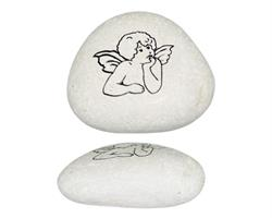 Vit sten - Ängel svart (6 pack)