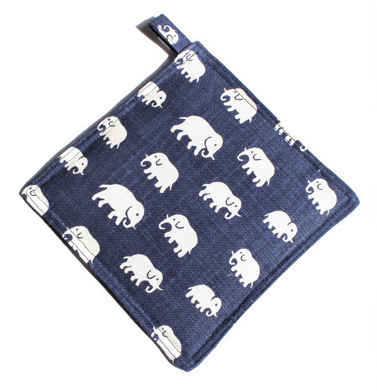 Grytlapp stormblå med elefanter