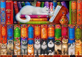 Puslespill Cat Bookshelf Katter, 1000 brikker