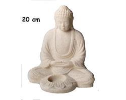 Buddha - Ljusstake vit 20cm (4 pack)