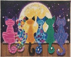Diamond Painting, Katter i Måneskinn 60*40cm FPR