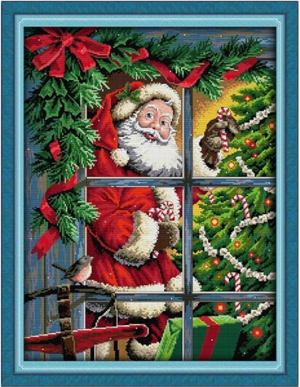 Korsttingsbroderi, Julenisse i vindu 55*70cm (RA400)