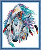 Broderi korssting, Fargerik hest 39*47cm (DA440)