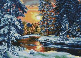 Diamond Painting, Elv i vinterprakt 67,8*50,6cm (F0225) FPK