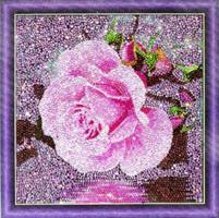 Diamond Painting, Rosa rose 30*30cm AC834) GLITTER