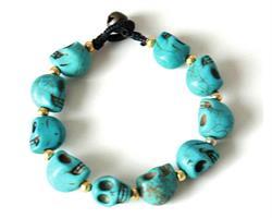 Armband - Stor blå skalle (4 pack)