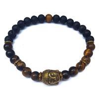 Armband - Buddha tigeröga & lavasten (3 pack)