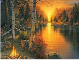 Diamond Painting, Bål ved elvebredde 39*49,5cm FPR