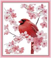 Broderi korssting,  Rød fugl 40*44cm (DA321)