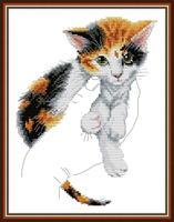 Broderi korssting, Katt i hånd 26*35cm (DA526)