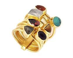Ring - Brons chakra 7 stenar (6 pack)