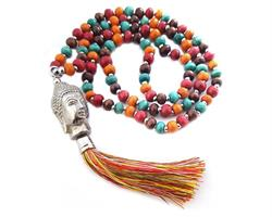 Halsband - Buddha träpärlor rainbow (6 pack)