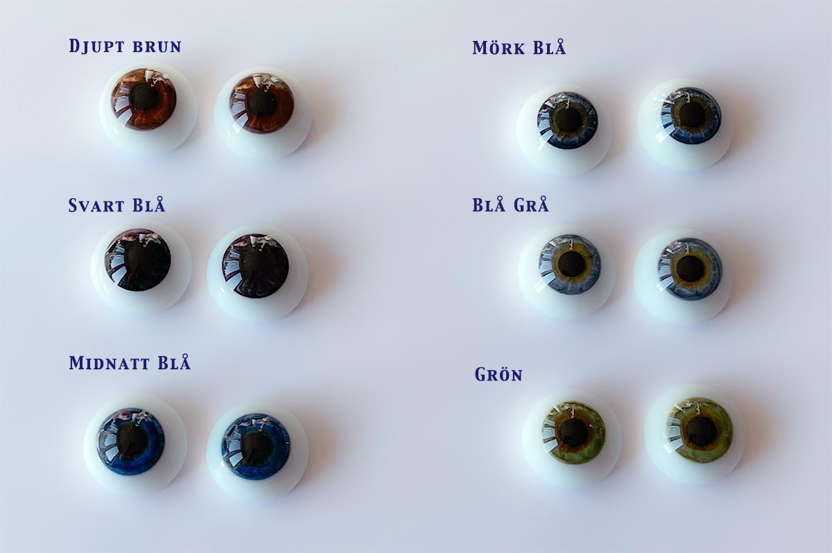 18 mm Mörkblåa Platta Lauscha Ögon av Glas
