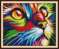 Broderi korssting,  Fargerik katt 50*41cm (DA416)