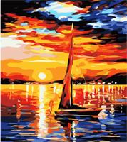 Mal eller nummer, Seilbåt i solnedgang 40*50cm (YC2219)