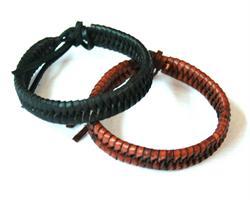 Knytarmband - Läder svart & brun mix (12 pack)