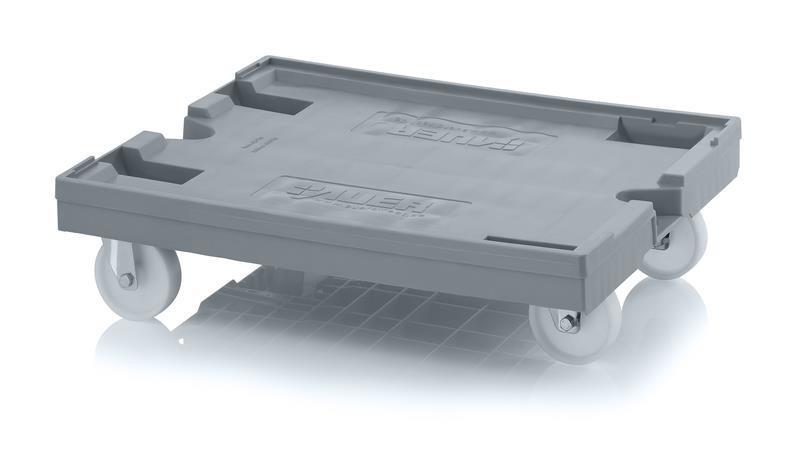 Dolly 820x620 2f+2sv.b nylonhjul Ø125mm, grå
