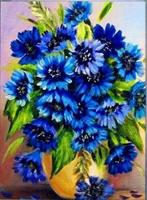 Diamond Painting, Blomster blå 30*40cm (AP6913) FPK