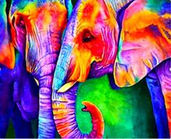 Diamond Painting, Fargerik elefant 42*32cm FPR