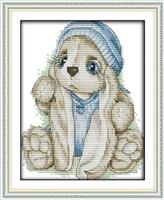 Broderi korssting, Hare m/blå lue 21*26cm (C943)