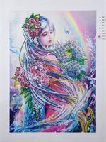 Diamond Painting, Pike i regnbue 24*34cm AP
