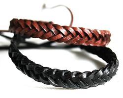 Knytarmband - Flätat läder Svart & brun (20 pack)