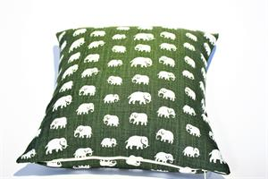 Kuddfodral i mossgrön elefanter 40x40 enkelsidig