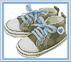 Broderi korssting,  Baby sko, blå 35*28cm (RA194)