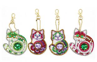 Diamond Painting, Nøkkelring Dekor Katter 4stk