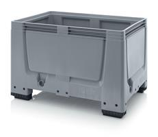 Pallecontainer 1200x800x800 tett m/4 ben, grå