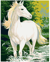 Male etter nummer, Hvit hest 40*50cm (GX6036)