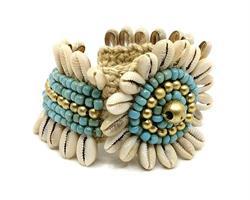 Armband - Cowry blomma turkos (4 pack)