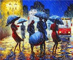 Diamond Painting, Folk i regnvær 50*40cm GLITTER