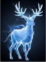 Diamond Painting, Blå Hjort 40*50cm GLITTER