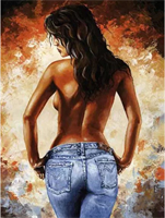 Mal etter nummer, Dame i jeans 40*50cm