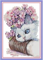 Broderi korssting, Katt m/blomster 43*60 (DA465)