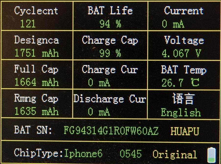 Batteri analyse av iPhone 6 batteri
