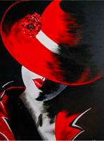 Diamond Painting, Dame m/rød hatt 40*50cm FPK