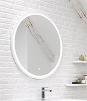 Rund spegel med vit ram som LED-belysning