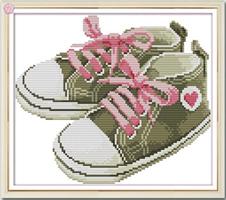 Broderi korssting,  Baby sko, rosa 35*28cm (RA193)
