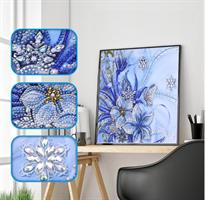 Diamond Painting, Blomster blå 24*24cm (DZ177) AP