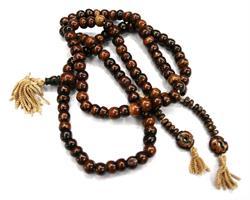 Mala - Halsband Tibet ben brun (10 pack)